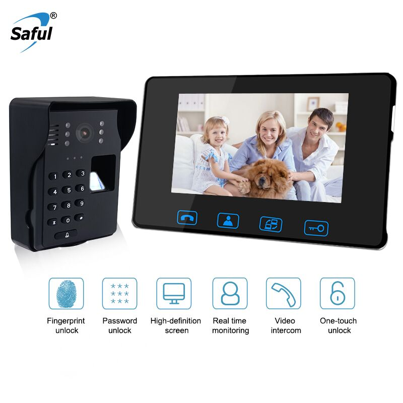 Saful 7'' Wired Fingerprint Recognition Video Doorbell Door Phone System Support Fingerprint Unlock With Night Vision Touch Key