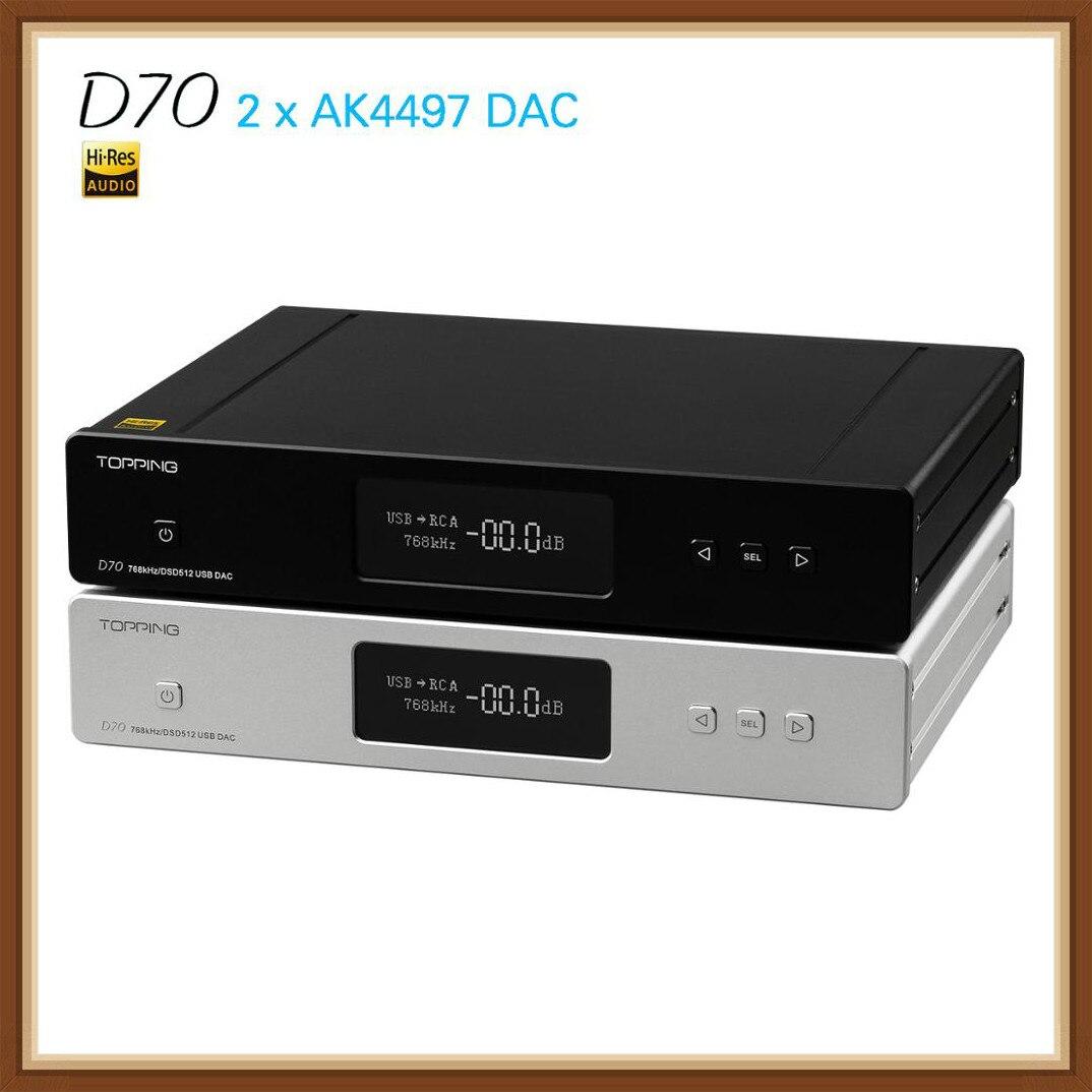 NEW TOPPING D70 AK4497 * 2 AK4118 DAC USB XMOS AUDIO DSD512 32bit 768 khz Desktop Decoder Supporto per IIS ingresso