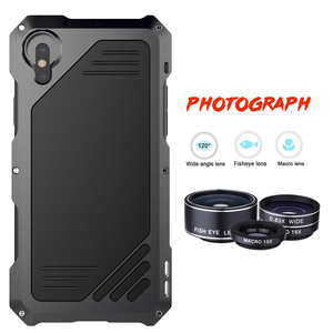 Image 4 - Metal Waterproof Case for iPhone X XS XR XSMAX 5 5S SE 6 6S 7 8 Plus Shockproof Alloy Bumper with Macro Wide angle Fisheye Lens