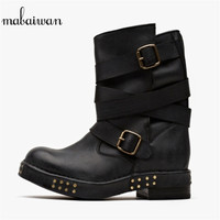 New Rivets Women Shoes Brown Flats Winter Boots Genuine Leather Vintage Shoes Women Ankle Strap Militares