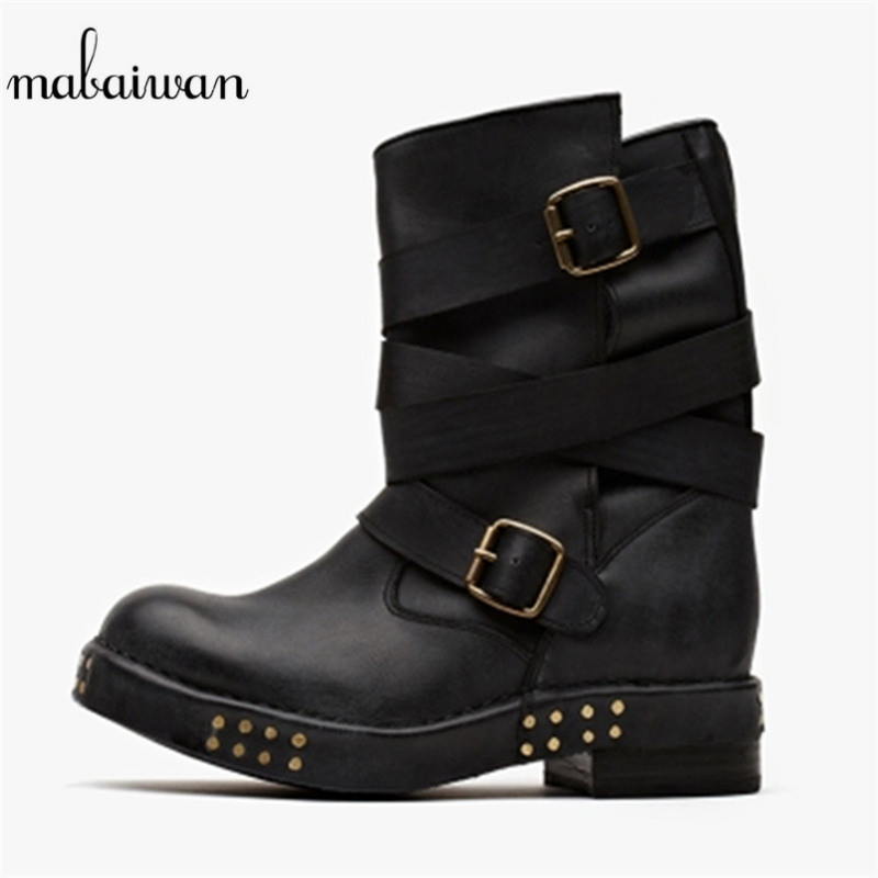 Mabaiwan Rivets Studded Women Shoes Black Flats Genuine Leather Vintage Straps Shoes Woman Ankle Boots Military Cowboy  Boots mabaiwan handmade rivets military cowboy boots mid calf genuine leather women motorcycle boots vintage buckle straps shoes woman