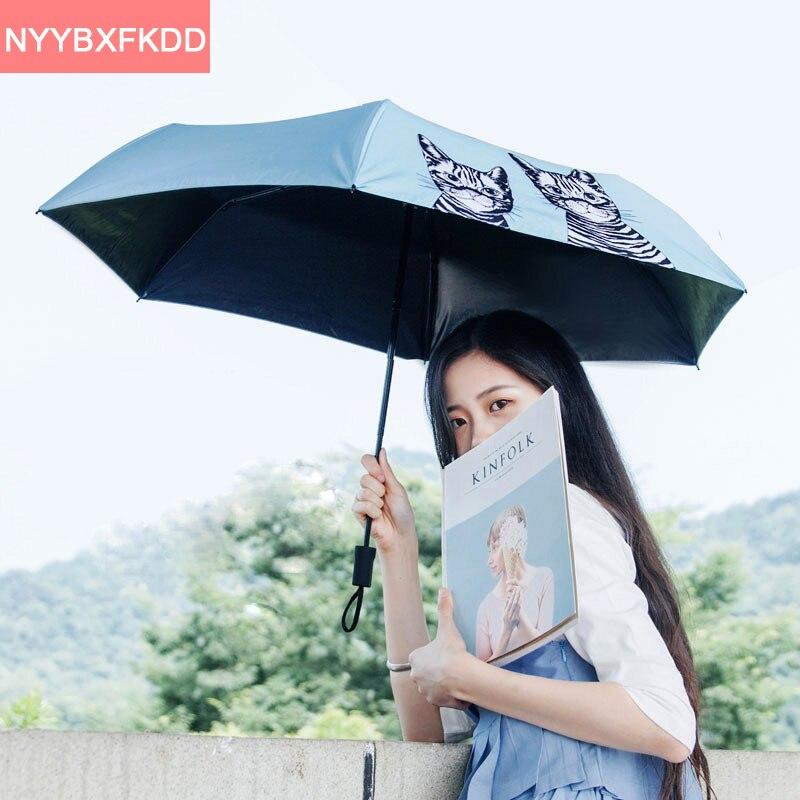 Style coréen bleu mignon chat de bande dessinée 4 couleur fille ultra-léger  trois pliant noir colle UV parasol parapluie parapluie pluie femmes e96e49e798c