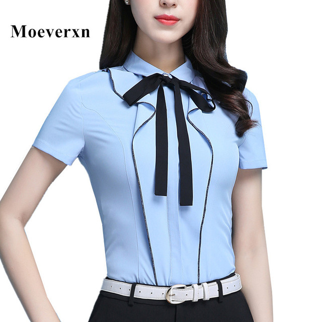 Shirts For Women Patchwork Short Sleeve Blouse OL Business Slim Fit Button  Down Plus Size S To 4XL Autumn Spring Top Womens dd158bd91