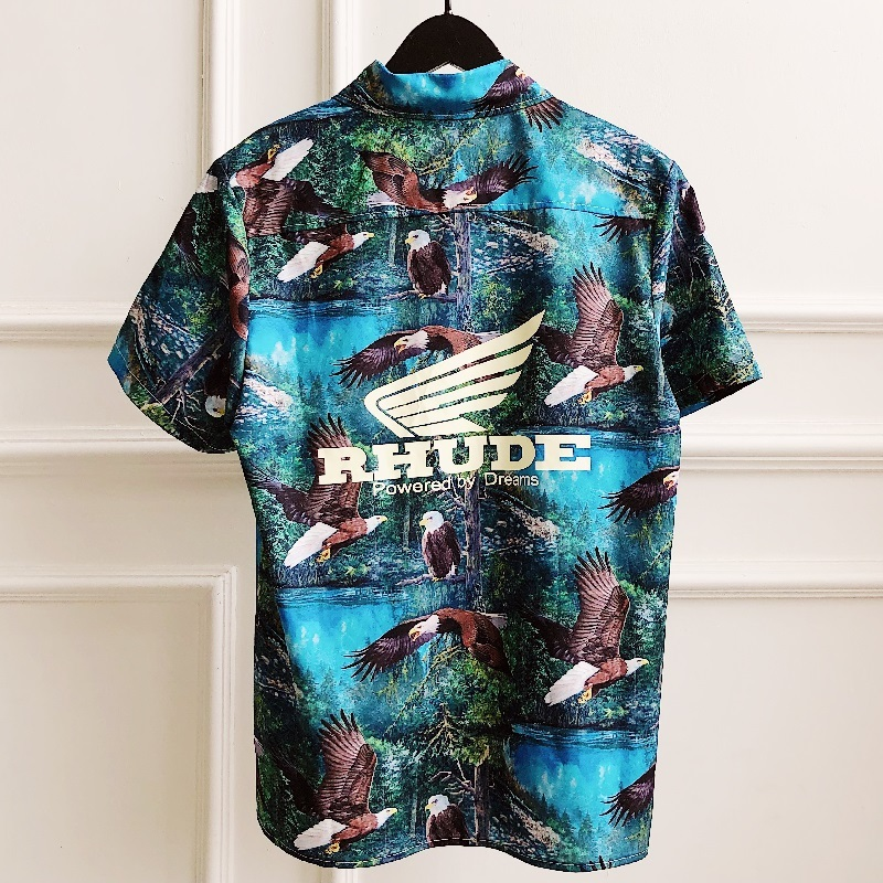 Rhude Shirt Men Shirt Women Street Wear Streetwear Hawaiian Shirts Striped Short Sleeves Camisa Masculina Rhude Shirt