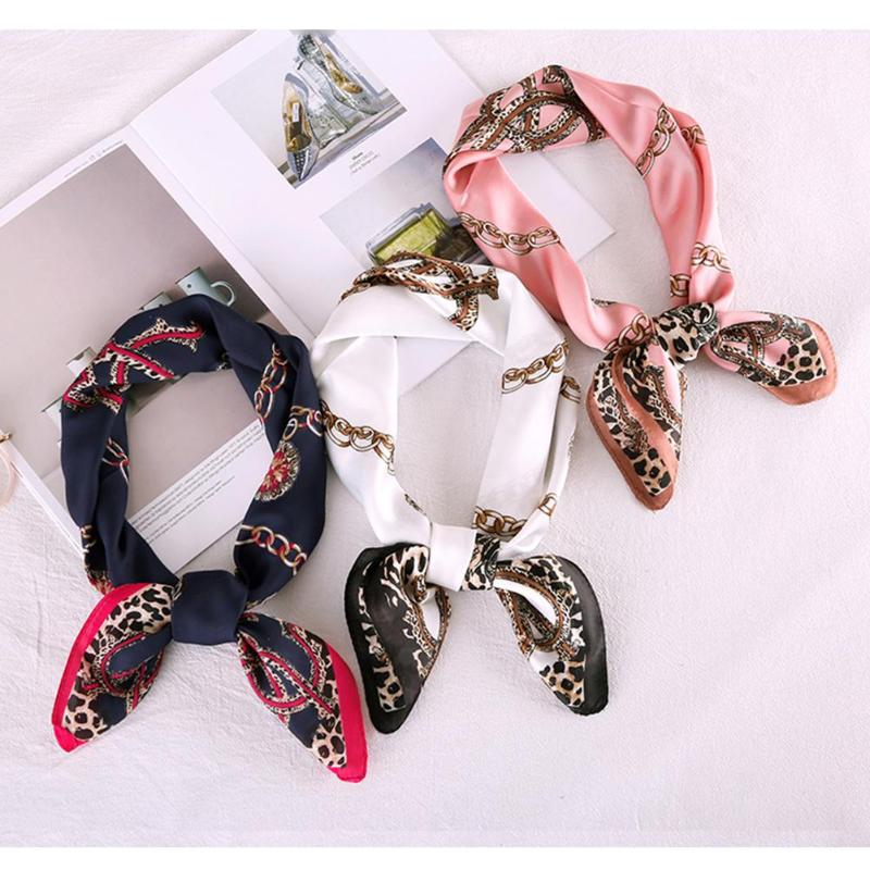 Fashion Women Printing Square Imitate Silk Scarf Kerchief Head Wrap Neck Shawl 70x70cm Korean Chic Style Clothes Accessories