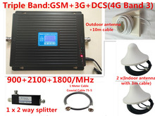 LCD ekran TriBand 2G 3G 4G GSM tekrarlayıcı 900 WCDMA 2100 LTE 1800 hücresel Sinyal Booster 70dB Kazanç gsm Tekrarlayıcı 3G 4G amplifikatör