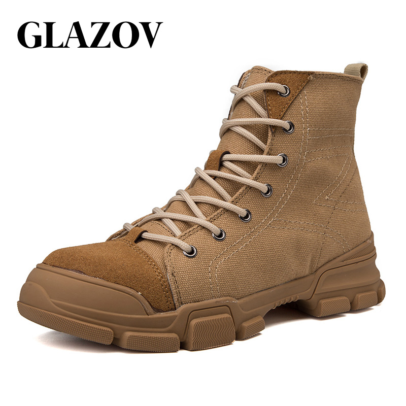 GLAZOV Autumn Winter Men Canvas Boots Army Combat Style Fashion High-top Military Ankle Boots Men's Shoes Comfortable Sneakers new palladium fashion style high top tactical military boots man and woman outdoor travel hiking boots comfortable canvas shoe