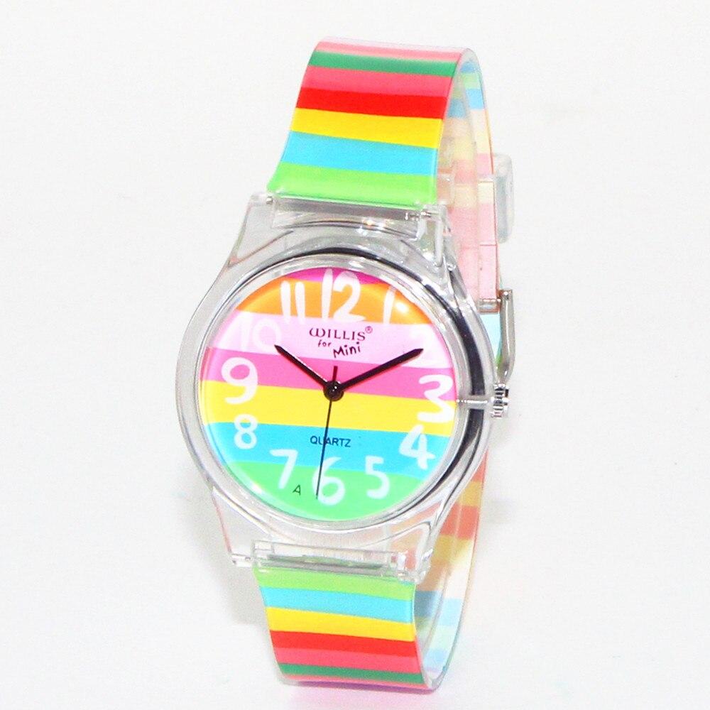 Latest Styles Rainbow Design Women Wrist Quartz Watch Waterproof Sports Wristwatches for Girls Student Lady