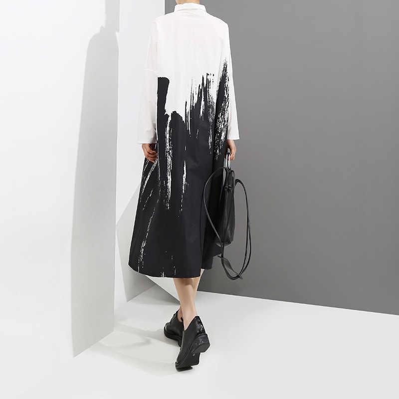 2019 Vrouwen Herfst Zwarte En Witte Shirt Jurk Lange Mouwen Tie-Geverfd Print Lady Plus Size Midi Casual Losse jurk Robe Stijl 3400