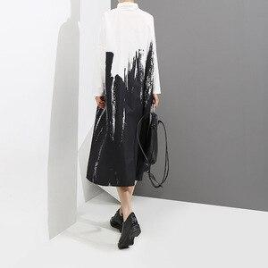 Image 3 - 2020 كم طويل امرأة الخريف أبيض وأسود طباعة قميص فستان التعادل مصبوغ نمط اللوحة حجم كبير ميدي السيدات فستان كاجوال 3400