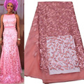 2016 High Quality African Lace Fabrics/French Net Embroidery Sequins Tulle Lace Fabric For Nigerian Wedding Dress AMY125B-1