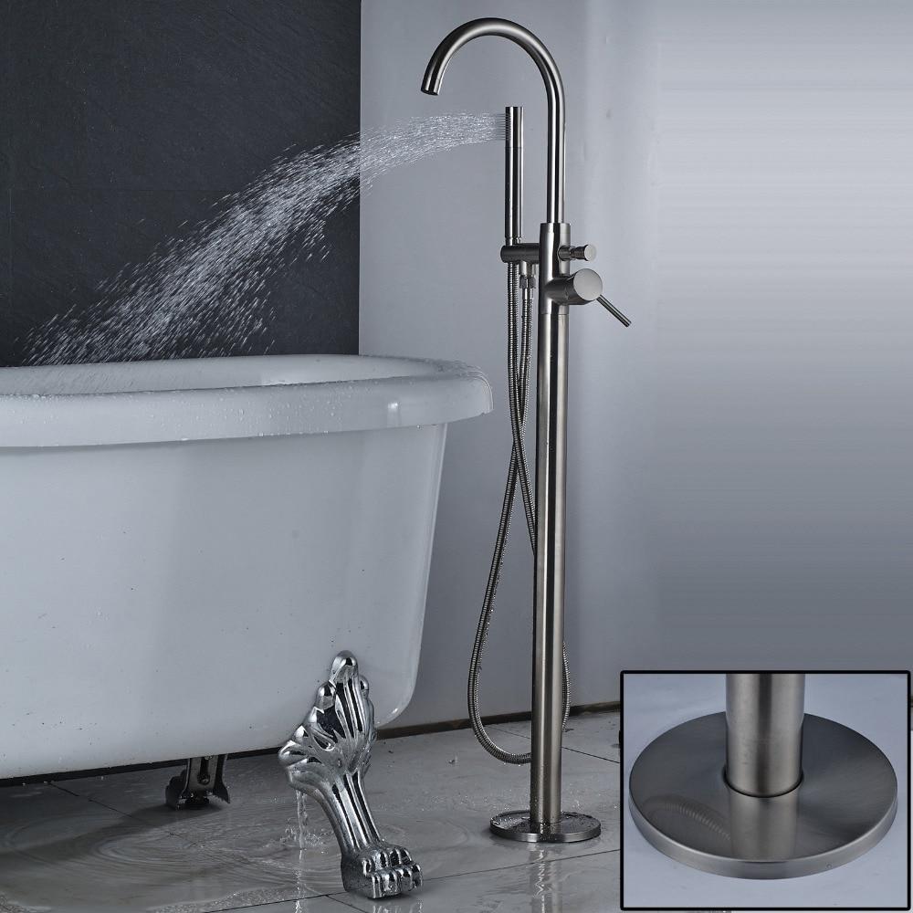 все цены на Brushed Nickel Bathroom Tub Faucet Floor Mounted Tub Filler W/ Hand Shower Mixer Free Sranding Bathroom Shower Mixer Tap онлайн