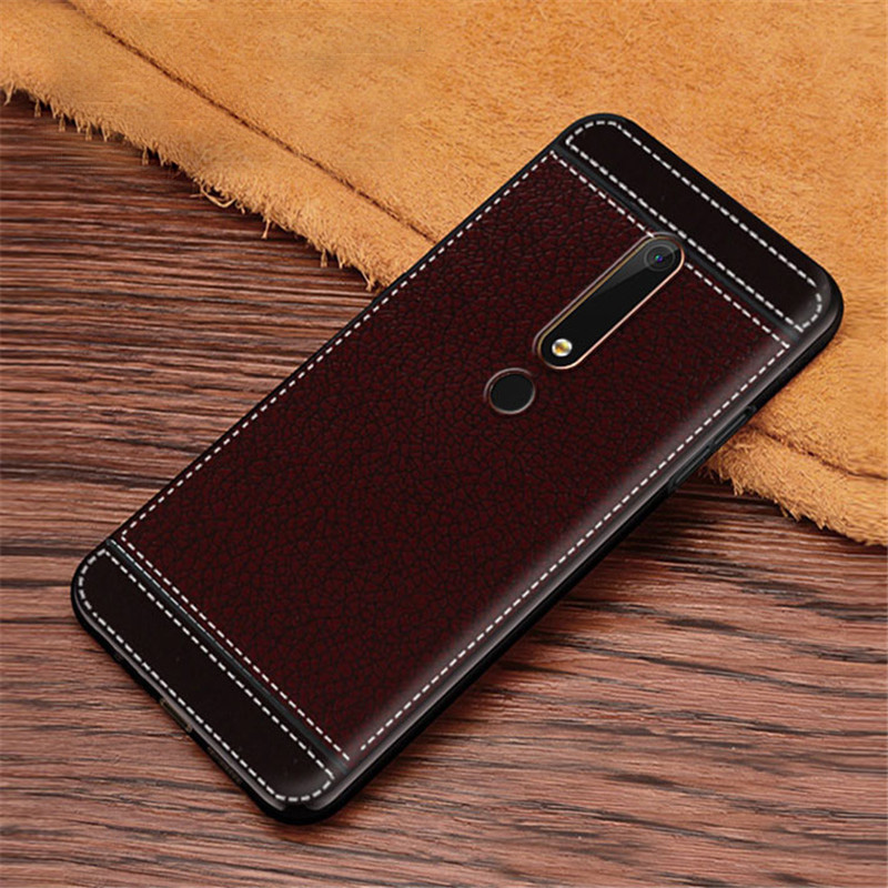 For Nokia 6.1 Case Matte Litchi Stripe Soft TPU Cover For Nokia X6 X5 X7 X3 X71 Emboss Capa For Nokia 5.1 3.1 2.1 5 6 7 8.1 Plus
