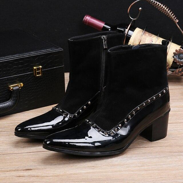 2bf478f8da Bota Masculina de Luxo Da Marca de Sapatos Novos Homens do Desenhista Preto  Ankle Boots Rebites