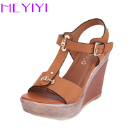 HEYIYI Shoes Women Sandals T Strap Platform Wedges High Heels Lightweight Buckle Strap Soft EVA Insole