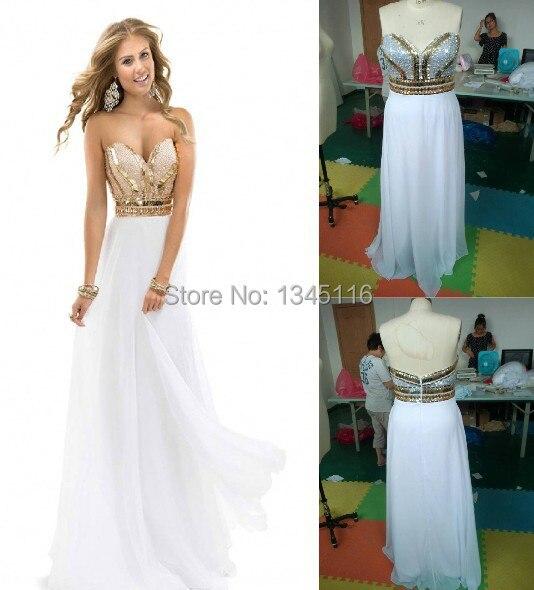 White long gold beaded dress.