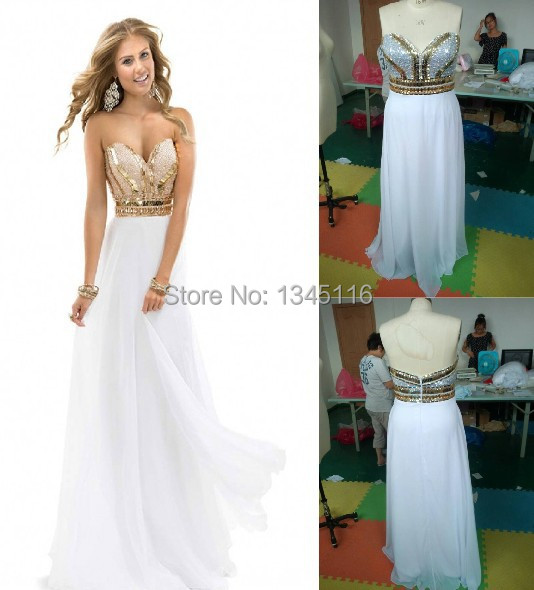 Online Get Cheap White and Gold Beaded Prom Dresses 2015 ...