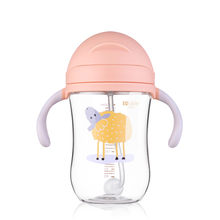 300ml Toddler Infant Baby Feeding Cup with Straw Children Learn Feeding Drinking Bottle with Handle Newborn Kids Training Cup(China)