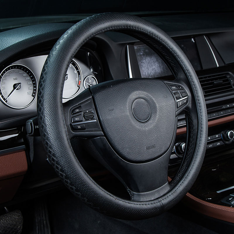 car steering wheel cover genuine leather auto accessories for Skoda Octavia 1 2 a5 a7 RS Superb 2 3 Yeti Fabia 3 Rapid spaceback