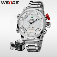 WEIDE Men Sports Watch stainless steel white Clock Quartz Analog Digital LED Military Watches Relogio Masculino weide luxury brand analog digital alarm stopwatch black red dual men sport watch quartz wrist watch military men clock relogio