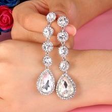 Bella Fashion Teardrop Bridal Earrings Austrian Crystal Rhinestone Dangle Earrings For Wedding Party Jewelry Girl Gift