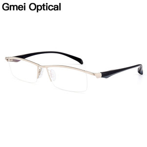 Gmei Optical Men Large Size Titanium Alloy Glasses Frames for Men Eyewear Flexible Legs IP Electroplating Alloy Spectacles Y8011(China)