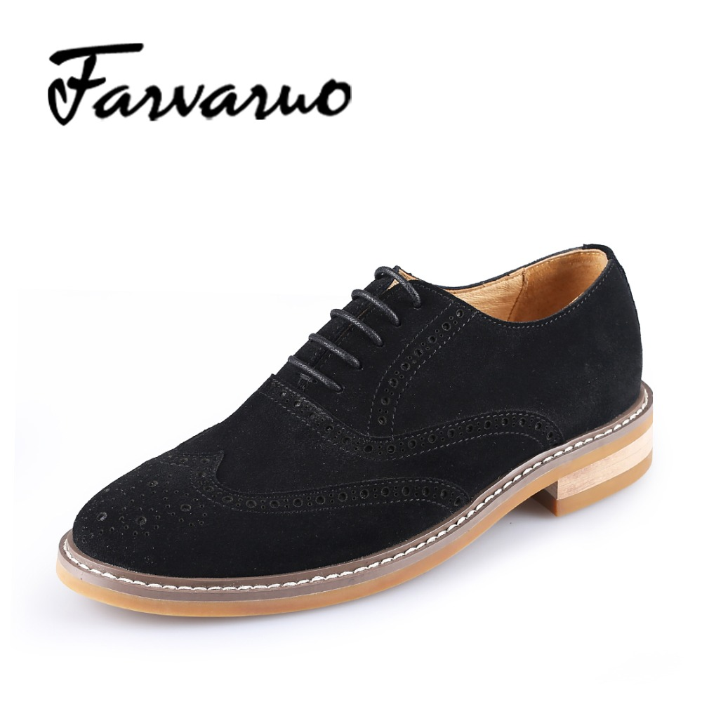 Farvarwo Casual Genuine Leather Suede Oxford Shoes Mens Flat Business Dress Shoes for Man Walking & Wedding Lace Round Toe Derby e lov women casual walking shoes graffiti aries horoscope canvas shoe low top flat oxford shoes for couples lovers