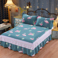 New cartoon 3pc green printing bedspread 100% cotton pink Flamingo bed skirt pillowcase bedding bed sets twin queen king size