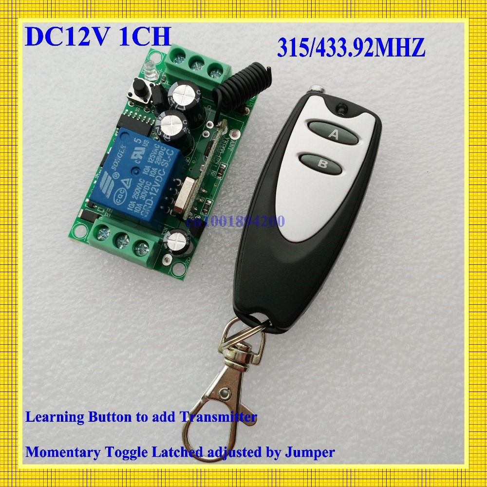 12V Remote Control Switch DC 1CH 10A Relay Receiver Door Access Control Light Lamp LED Power Remote ON OFF Wireless Switch AB 220v ac 10a relay receiver transmitter light lamp led remote control switch power wireless on off key switch lock unlock 315433