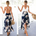 2017 cordón de la impresión atractiva del verano dress backless pastoral flores larga dress