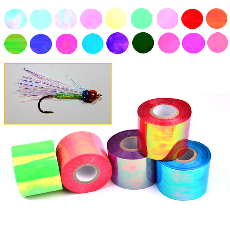 4.8cm*100m Multiple Color Fly Tying Material Clear Plastic Rainbow Flash Film/Pearlescent Sheets/Mirage Sheet Sabiki Rig Lures 5sheets pack 10cm x 5cm holographic adhesive film fly tying laser rainbow materials sticker film flash tape for fly lure fishing
