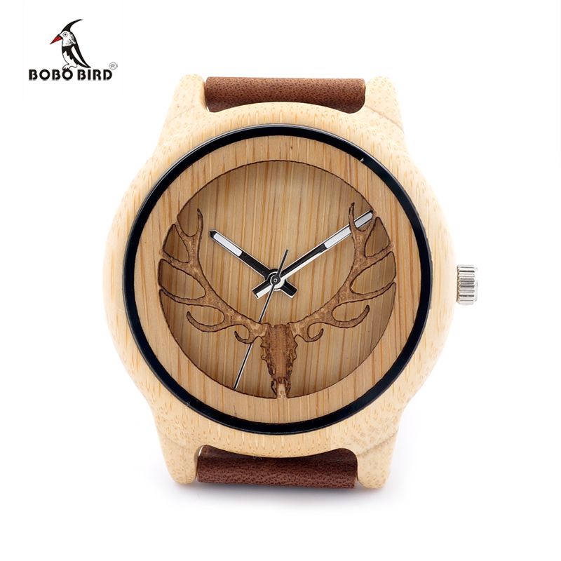 2017 BOBO BIRD Hollow Buck Head Bamboo Women Watches Genuine Leather Band Men Women Wood Watch
