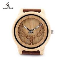 2017 BOBO Cabeça de PÁSSARO Oco Fanfarrão Mulheres Relógios Pulseira de Couro Genuíno Das Mulheres Dos Homens de Madeira de Bambu Relógio de Luxo relogio feminino C-A27