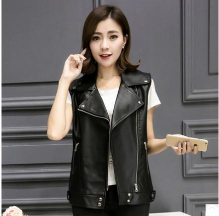 Fashion Female Turn Down Sleeveless Leather Jackets Black Womens Motorcycle Vest Coats S/L Womens Pu Leather Waistcoats J2285