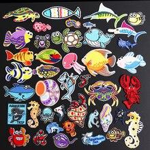 Нашивки в виде раковины, краба, черепахи для одежды, утюжок на морских животных, аппликации из ткани, 3D сделай сам, вышивка, Акула, Омар, осьминог, наклейки