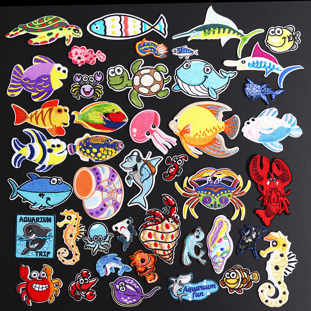 Conch Crab Tortoise Patches for Clothes Iron On Marine Animals Cloth Appliques 3D Diy Embroidery Shark Lobster Octopus Stickers
