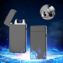 Luxury Dual Arc Electronic USB Lighter Flameless Windproof Cigarette Lighter Plasma Rechargeable Lighter Smoking Gadget for men