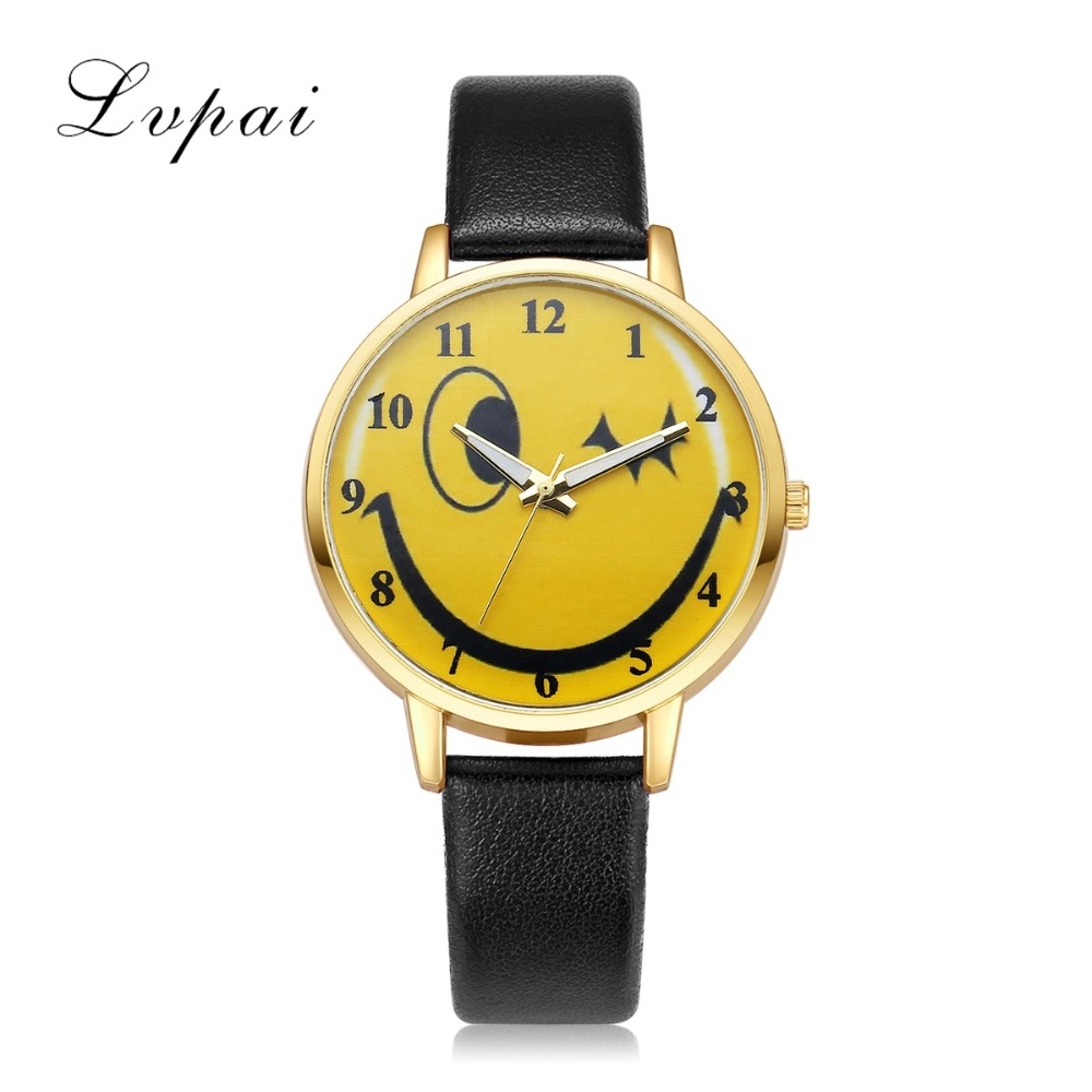 Lvpai Brand 2017 New Leather Strap Watches Women Cartoon Smiling Face Expression Wristwatch Casual Quartz Ladies Clock LP115