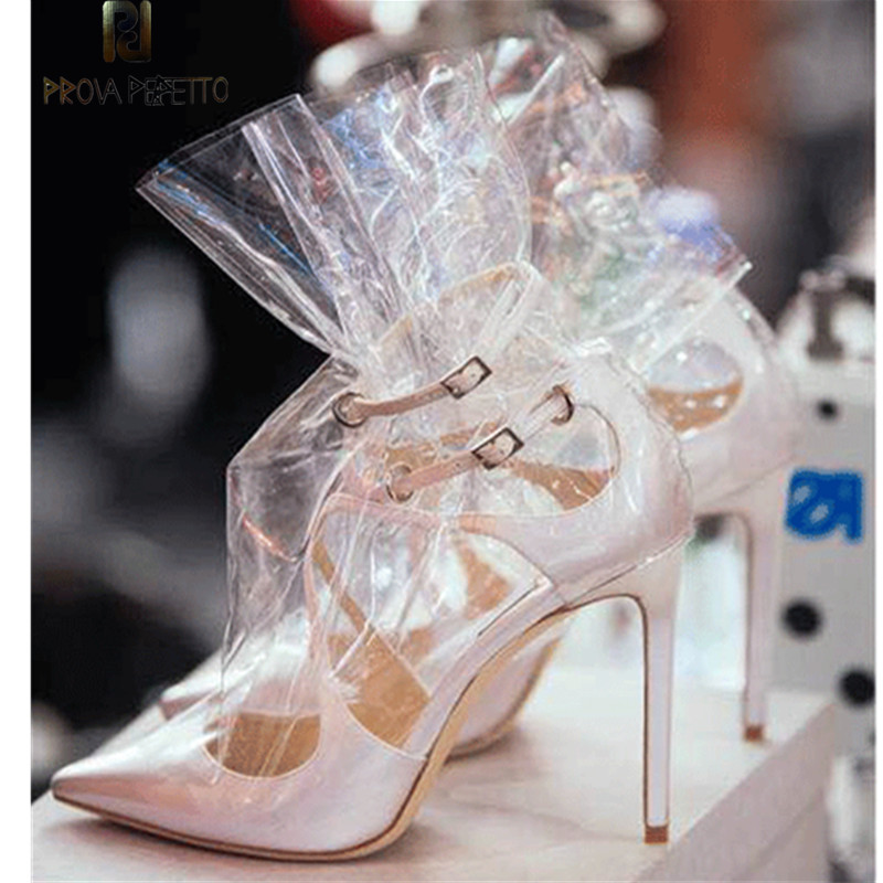 Prova Perfetto Hot New Women PVC Ankle Boots Pointed Toe Transparent Women Boots Waterproof Clear High