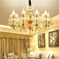 Modern chandeliers ceiling Living Room Crystal led Light Bedroom Restaurant Candle Chandelier Golden Crystal Lustre Luminarias