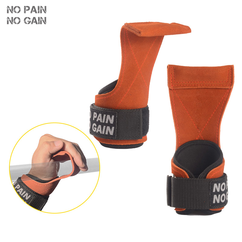 NO PAIN NO GAIN Wrist Support Hand Palm Brace Yellow Cowhide Barbell Straps Sports Gym Training protective HUANGNPHZ01