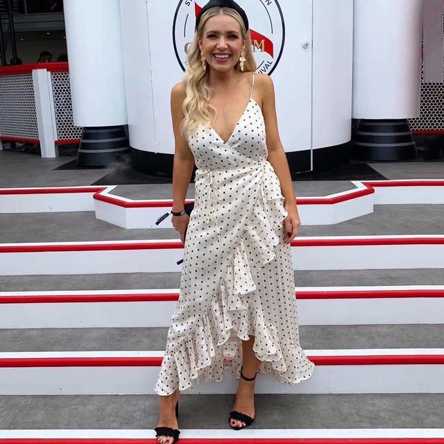 Jastie Women Dress Adjustable Shoulder Straps Summer Dresses Ruffle Trim Polka Dot Print Dress Karina Cocktail Wrap Dresses 2019