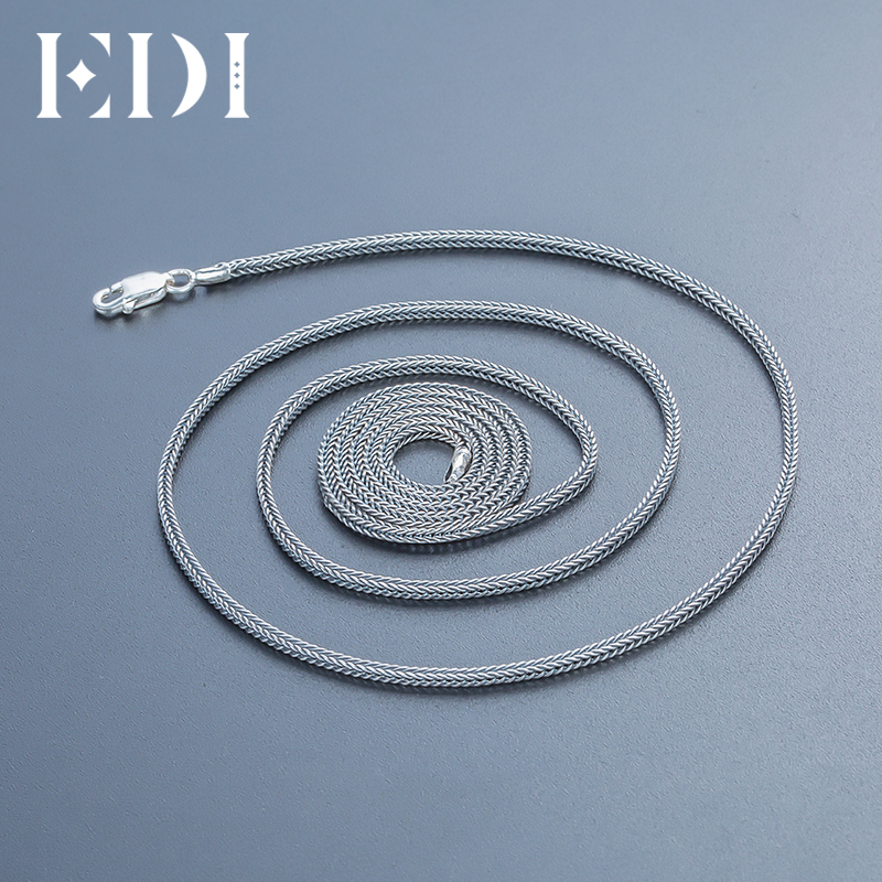 EDI Vintage Retro 925 Sterling Silver Long Necklace Women and Men Jewelry Contracted Fashion 2017 Bohemian Chain Bijoux