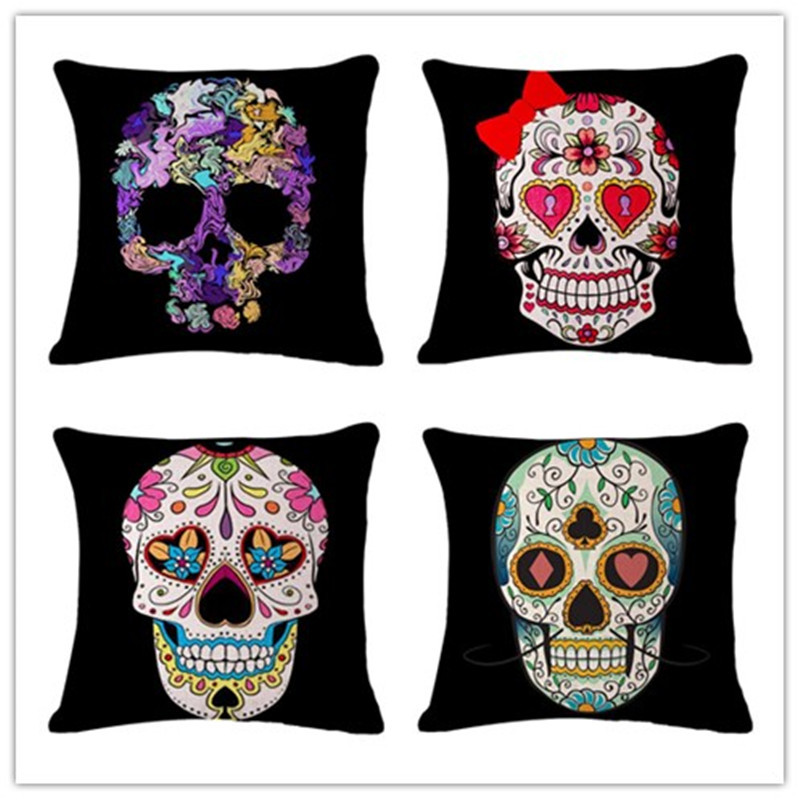 Fashion Nordic Style Houseware Home Decor Cojine Cool Skull Printed Sofa Pillow Throw Linen Cotton Pillow Cushion Almofadas
