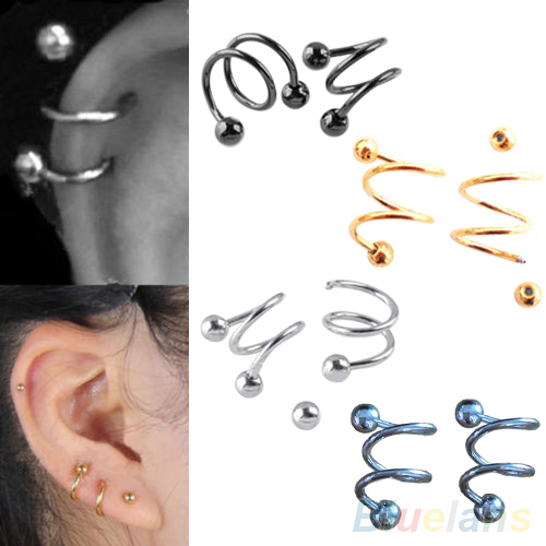 New Punk Stainless Steel S Spiral Helix Ear Stud Lip Nose Ring Cartilage Piercing 4QK5 6OGJ