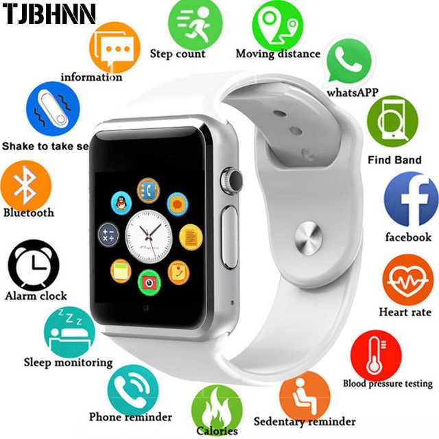 2019 New Smart Watch Support SIM TF Card Connectivity Apple iphone Android Phone Women Men Clock Sync Notifier A1