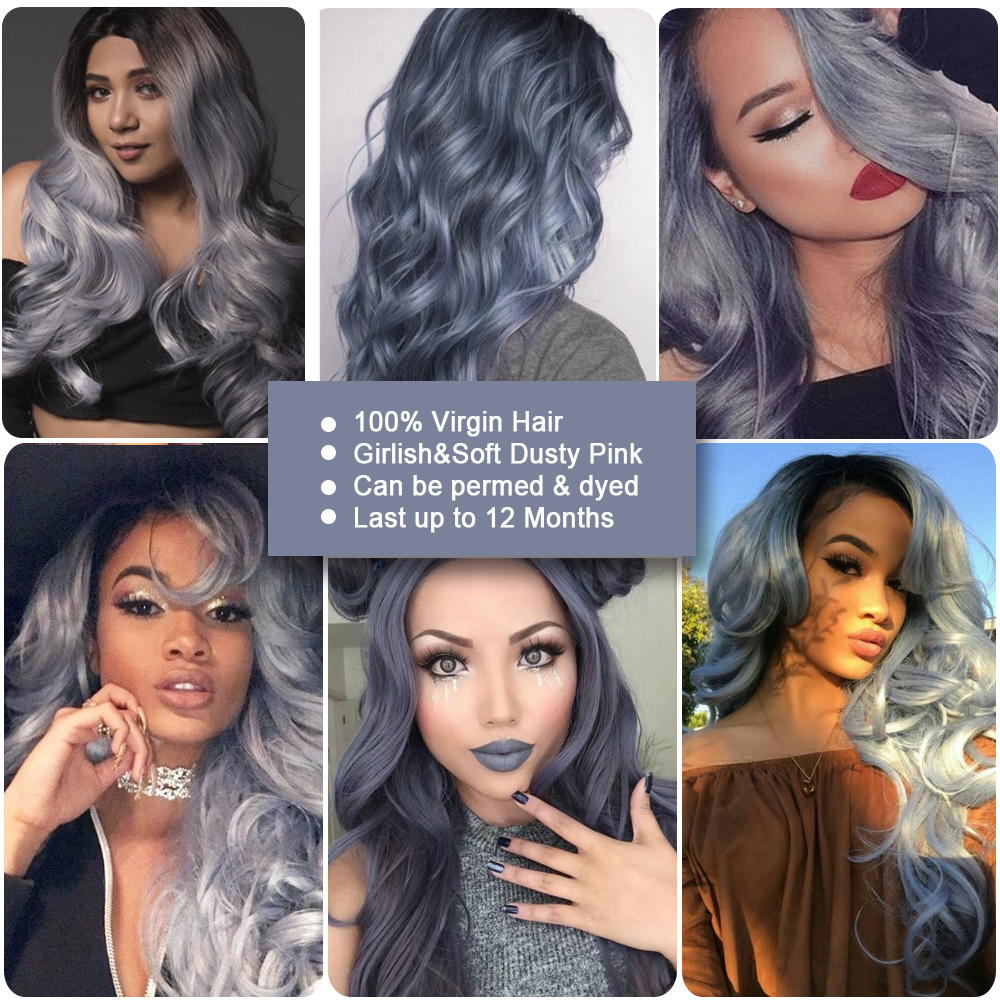 Sleek Colorful Hair 100% Virgin Remy Human Hair Brazilian Body Wave With Closure Honey Gray Ombre Bundles Human Hair Extension