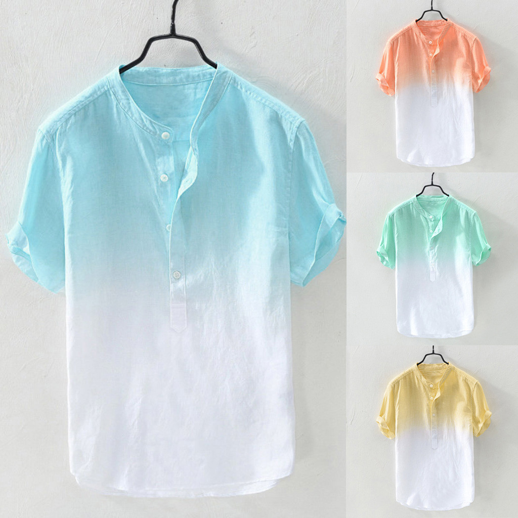 Summer Men's Cool And Thin Breathable Collar Hanging Dyed Gradient Cotton Shirt Support Wholesale And Dropship