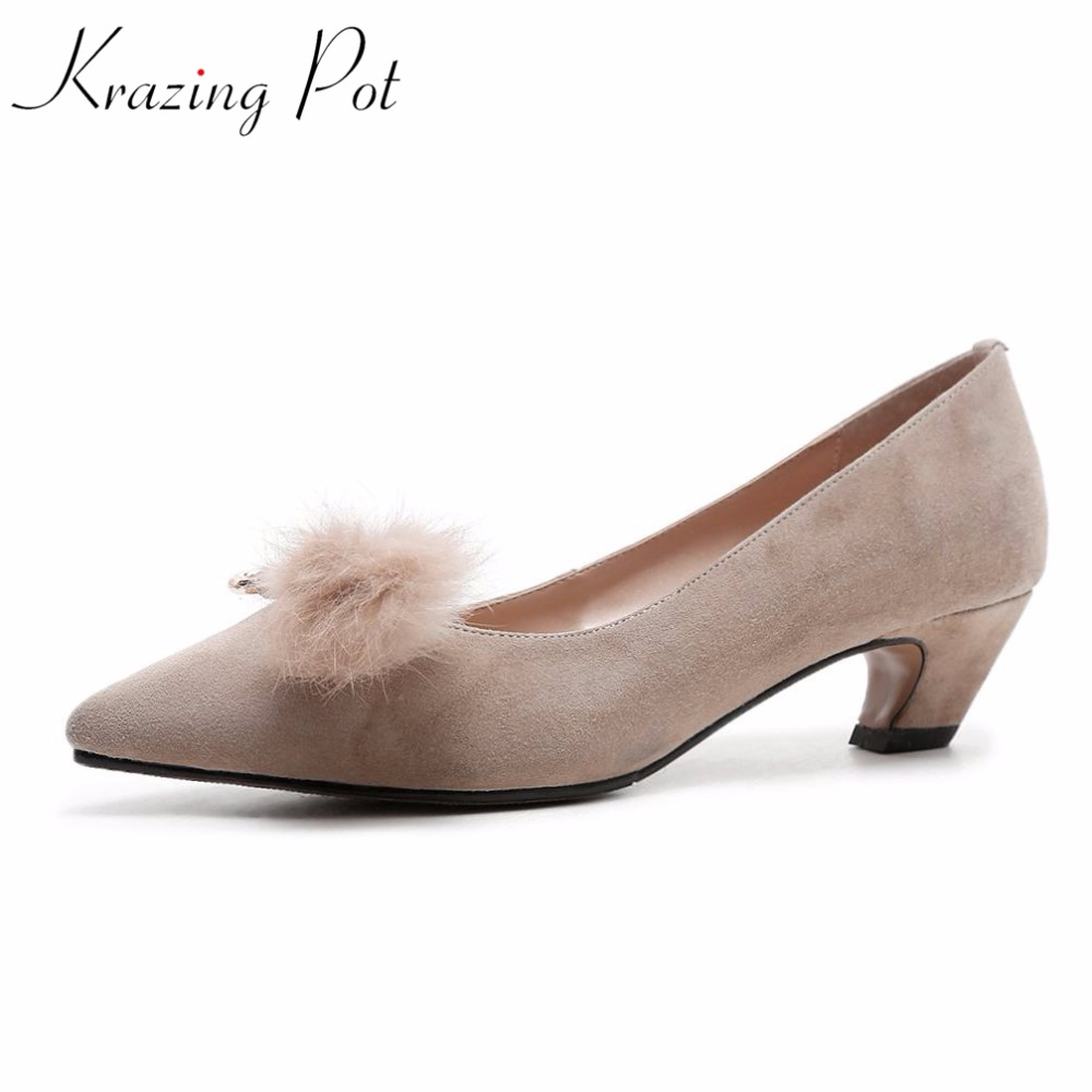2018 Krazing pot sheep suedde fur metal decorations fashion med heels shallow pumps pointed toe slip on women brand shoes L70 krazing pot empty after shallow shoes woman lace work flats pointed toe slip on sheep suede causal summer outside slippers l16