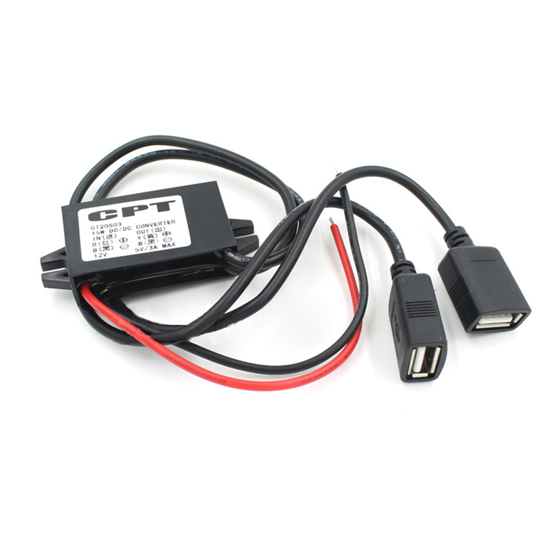 1pcs New Dual 2 USB <font><b>DC</b></font>-<font><b>DC</b></font> <font><b>Car</b></font> <font><b>Converter</b></font> Module Cable with mounting hole input <font><b>DC</b></font> <font><b>12V</b></font> <font><b>To</b></font> USB Ouput <font><b>5V</b></font> <font><b>3A</b></font> 15W <font><b>Power</b></font> <font><b>Adapter</b></font> image
